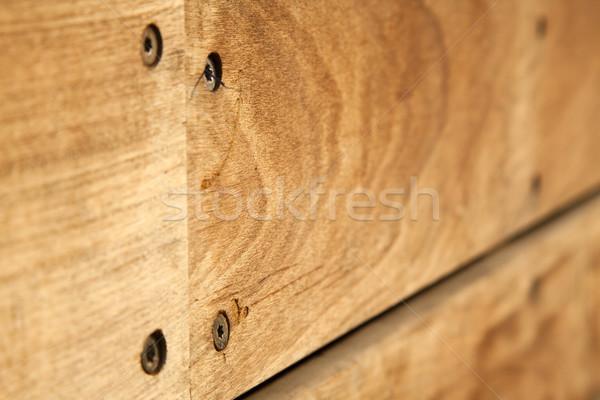 Houten bank macro shot zonlicht hout Stockfoto © eldadcarin