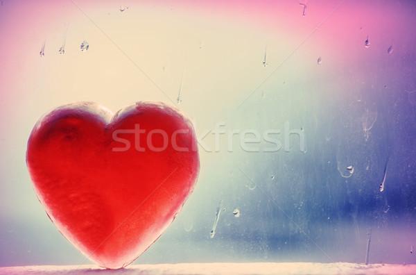 Zimą serca bar czerwony mydło Zdjęcia stock © eldadcarin