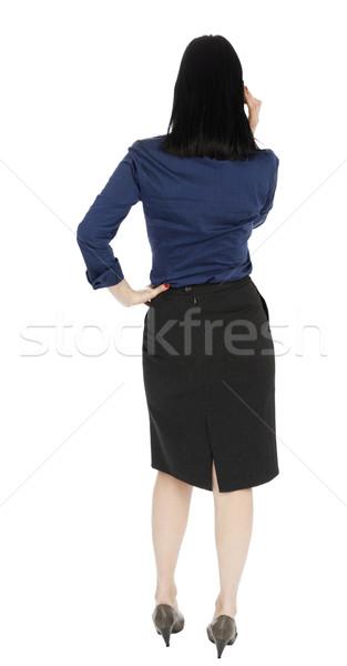 деловой женщины говорить телефон вид сзади взрослый рано Сток-фото © eldadcarin