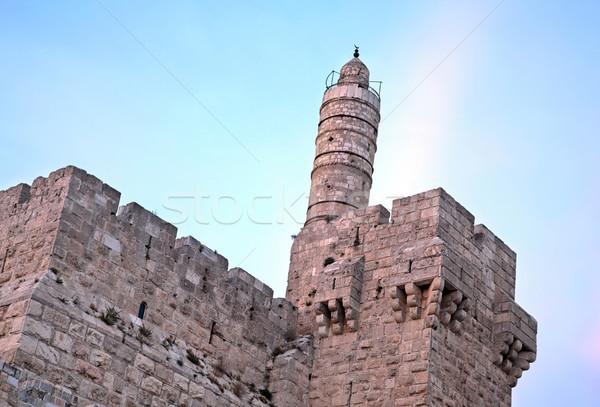 Torre crepúsculo antigo citadela portão entrada Foto stock © eldadcarin