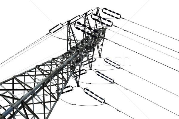 Izolált elektromosság alulról fotózva lövés távvezeték fehér Stock fotó © eldadcarin