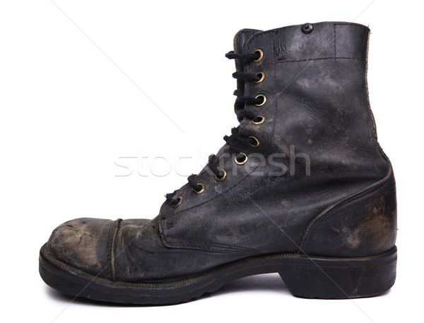 Isolated Used Army Boot - Inner Side View Stock photo © eldadcarin