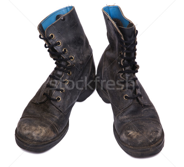 Isolated Used Army Boots - High Angle Frontal Stock photo © eldadcarin