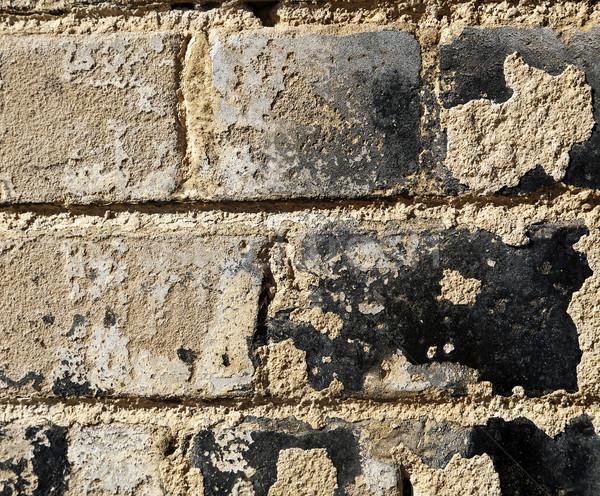 Foto d'archivio: Muro · di · mattoni · coperto · grezzo · texture