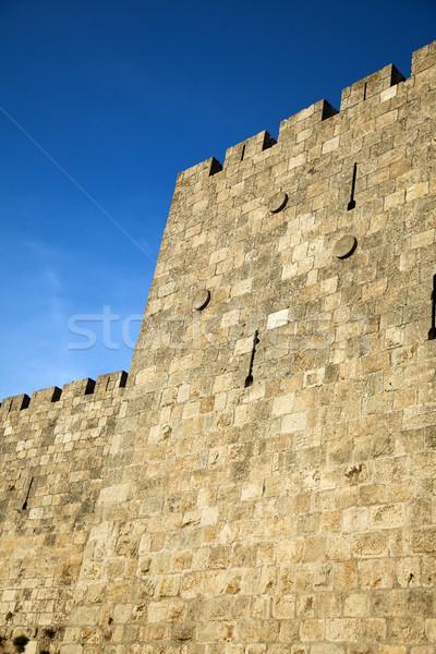 Eski Kudüs şehir duvar mavi taş Stok fotoğraf © eldadcarin