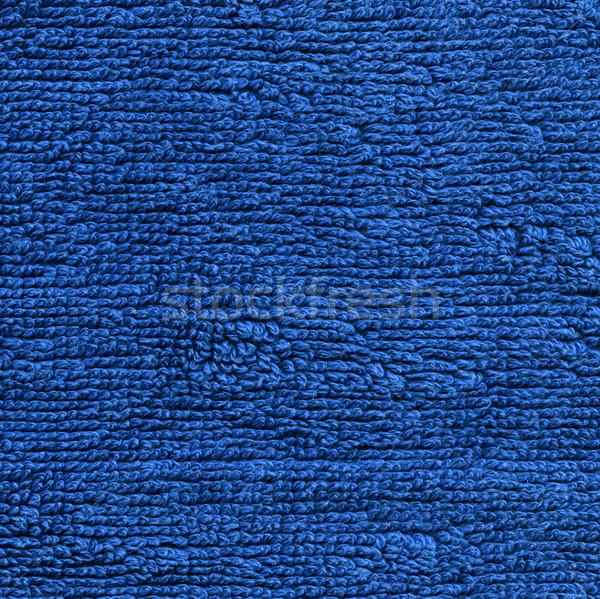 Handdoek doek textuur Blauw hoog Stockfoto © eldadcarin