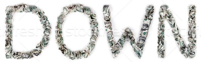Lefelé 100 számlák szó ki izolált Stock fotó © eldadcarin