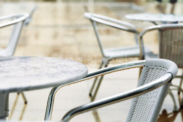 Empty Rainy Cafe Tables Stock photo © eldadcarin