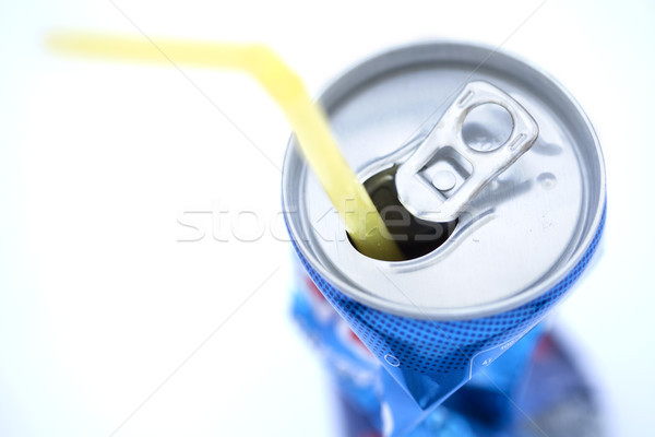 Isolated Crushed Soda Can with Straw Stock photo © eldadcarin
