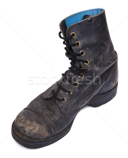 Isolated Used Army Boot - High Angle Inner Diagonal Stock photo © eldadcarin