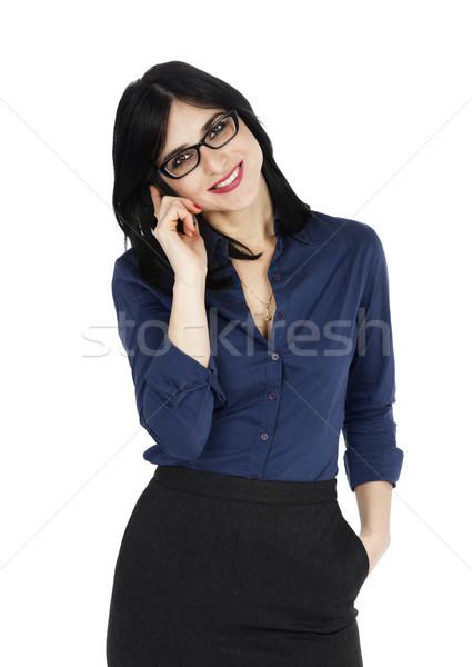 деловой женщины улыбаясь телефон взрослый рано 30-х годов Сток-фото © eldadcarin
