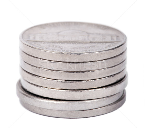 Isolated Nickel Coins Stack Stock photo © eldadcarin