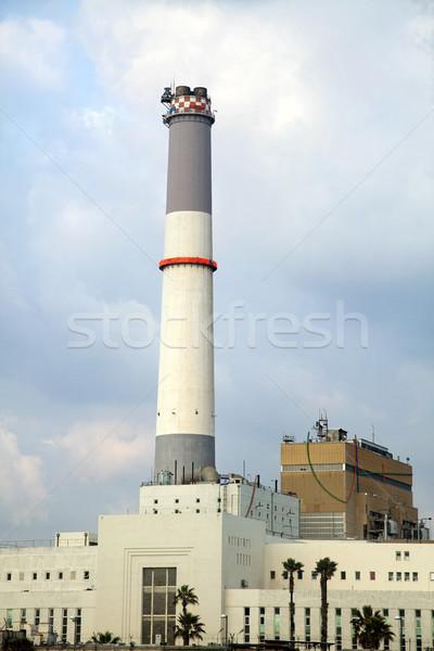 Stockfoto: Energiecentrale · lezing · mond · rivier · middellandse · zee