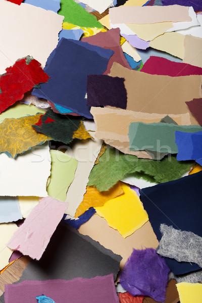 Kleurrijk gescheurd papier gescheurd stukken papier Stockfoto © eldadcarin