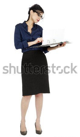 Business Woman Flipping Document Page Stock photo © eldadcarin