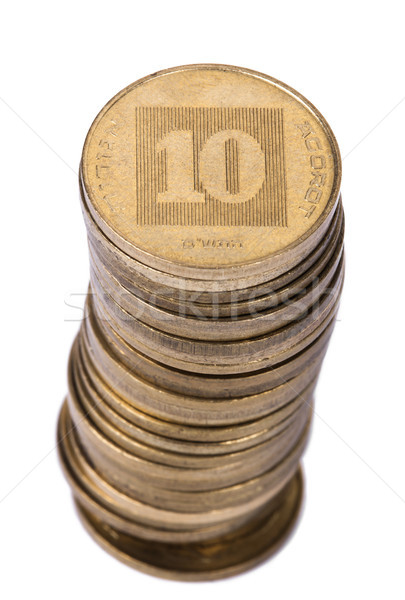 Isolated Israeli 10 Agorot Coin Stack Stock photo © eldadcarin