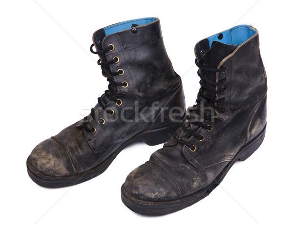Isolated Used Army Boots - High Angle Diagonal Stock photo © eldadcarin