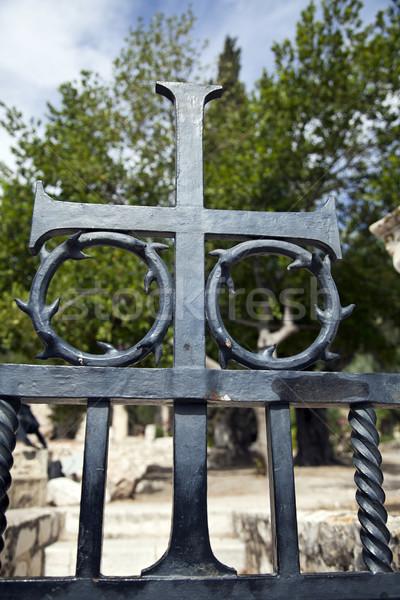 распятие металл ворот украшение Церкви Сток-фото © eldadcarin