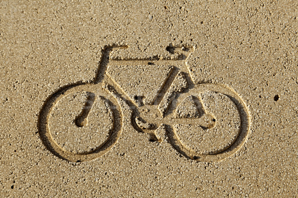 Bicicletta corsia diagramma inciso giallo pietra Foto d'archivio © eldadcarin