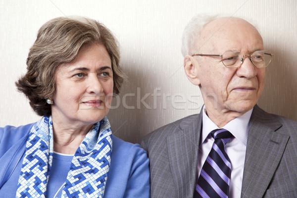 Idős pár másfelé néz közelkép magas társadalom Stock fotó © eldadcarin