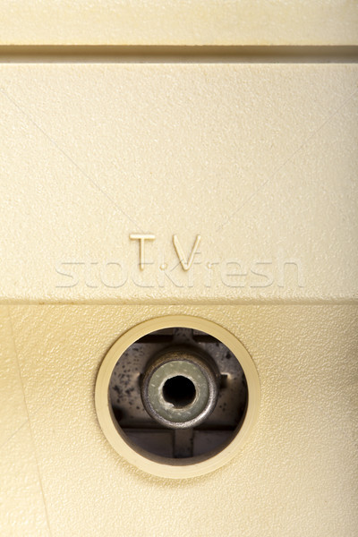 Stock fotó: Tv · foglalat · makró · lövés · öreg · használt