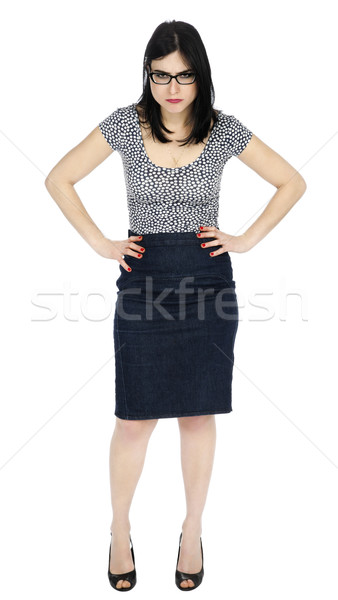 Isolated Angry Woman Hands on Hips Stock photo © eldadcarin