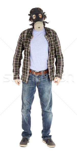Isolated Shocked Man with Gas Mask Stock photo © eldadcarin