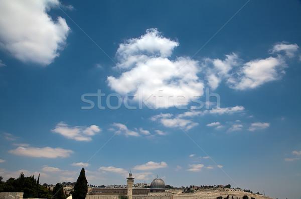 Mecset öreg város Jeruzsálem tetők kék Stock fotó © eldadcarin
