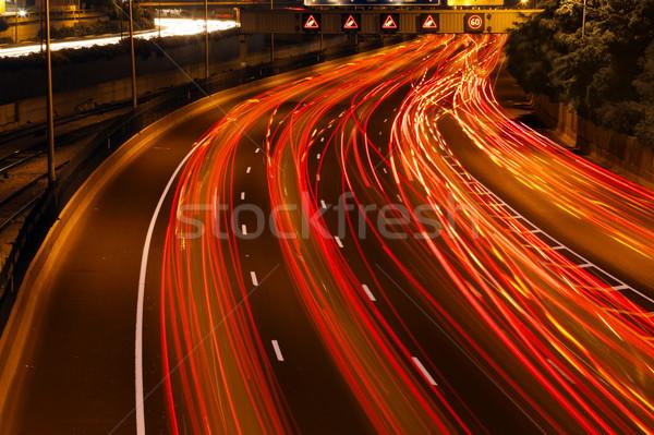 Verkeer rivier kleurrijk licht alle snelweg Stockfoto © eldadcarin