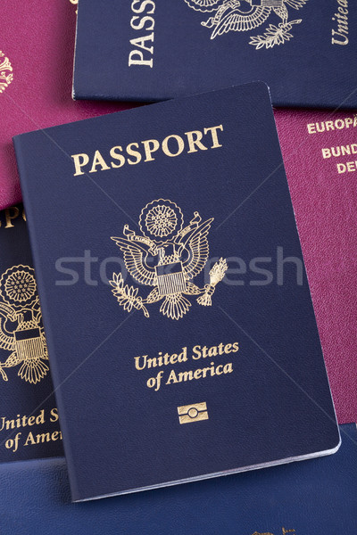 American Passport on Passport Stack Stock photo © eldadcarin