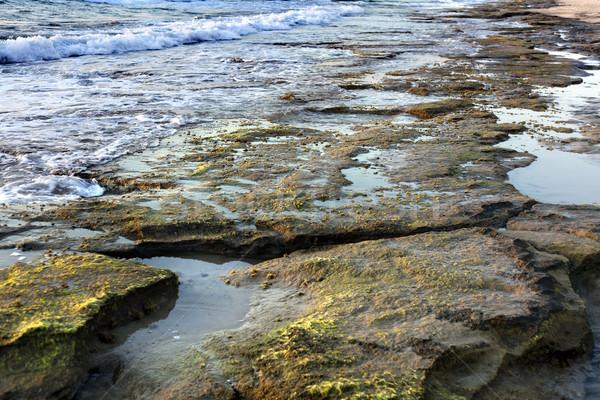 Strand schemering tijd gedekt rotsen lijn Stockfoto © eldadcarin