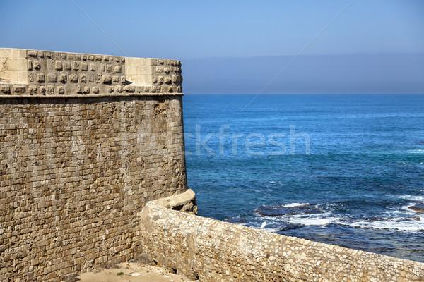 Old Acco City Wall & Sea Stock photo © eldadcarin