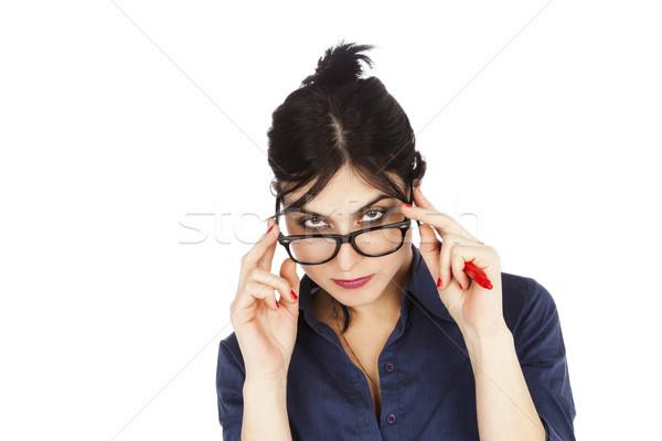 Guardando sopra occhiali adulto presto 30s Foto d'archivio © eldadcarin