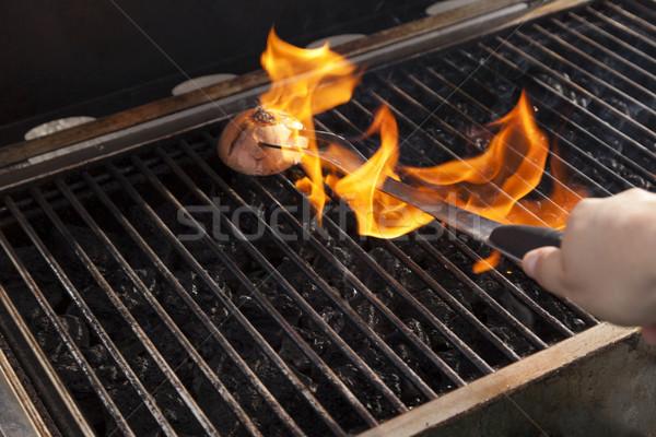 Nettoyage grill prêt cuisson oignon chaud Photo stock © eldadcarin