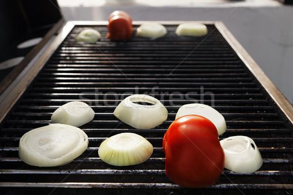 Tomato &  Onions on the Grill Stock photo © eldadcarin