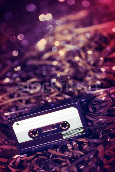 Blank Recordable Audio Cassette on Magnetic Tape - Selective Foc Stock photo © eldadcarin