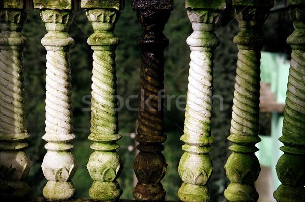 Biały zielone weranda starych częściowo pokryty Zdjęcia stock © eldadcarin