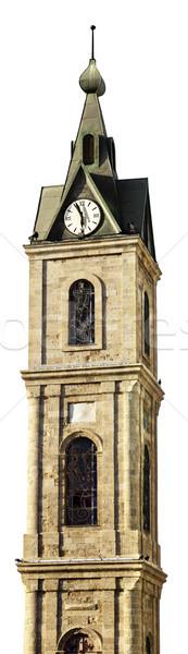 Odizolowany zegar wieża starych biały okno Zdjęcia stock © eldadcarin