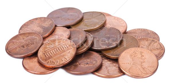 изолированный цент пенни монетами белый Сток-фото © eldadcarin
