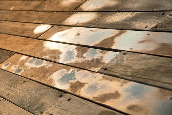 Umido legno deck piano acqua Foto d'archivio © eldadcarin