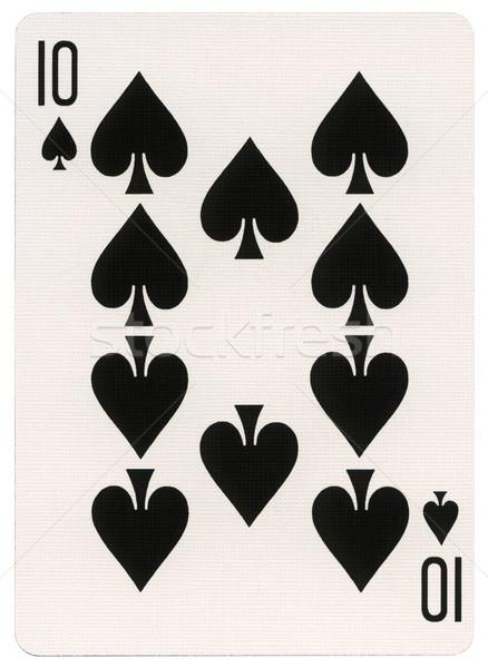 Сток-фото: играет · карт · десять · пики · изолированный · белый