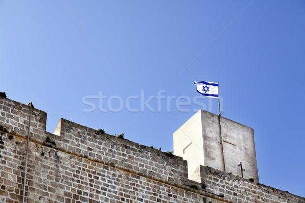 Festung Israel Flagge Altstadt Ruinen nördlich Stock foto © eldadcarin
