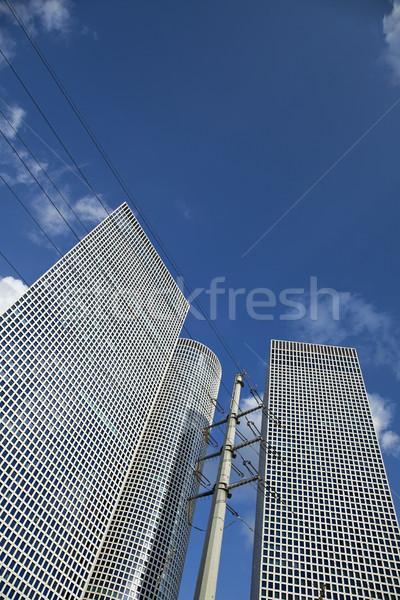 Iconic Небоскребы три высокое напряжение электроэнергии небоскреба Сток-фото © eldadcarin