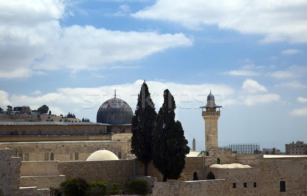 Mecset öreg város Jeruzsálem kék utazás Stock fotó © eldadcarin
