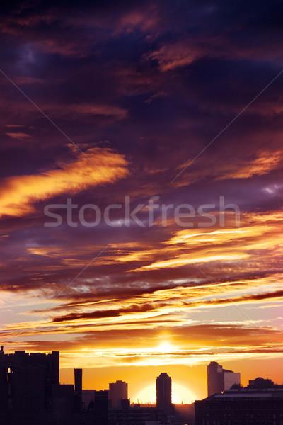 Cloudy Sunset over Urban Skyline Silhouette Stock photo © eldadcarin