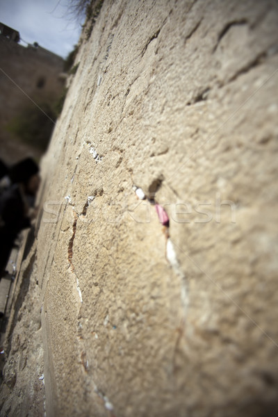 Parede velho cidade Jerusalém rachaduras Foto stock © eldadcarin