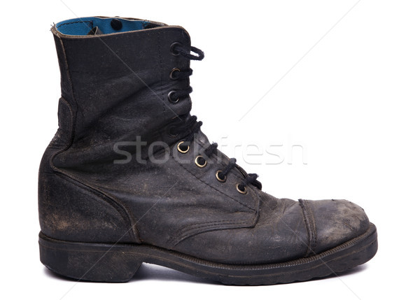Isolated Used Army Boot - Side View Stock photo © eldadcarin