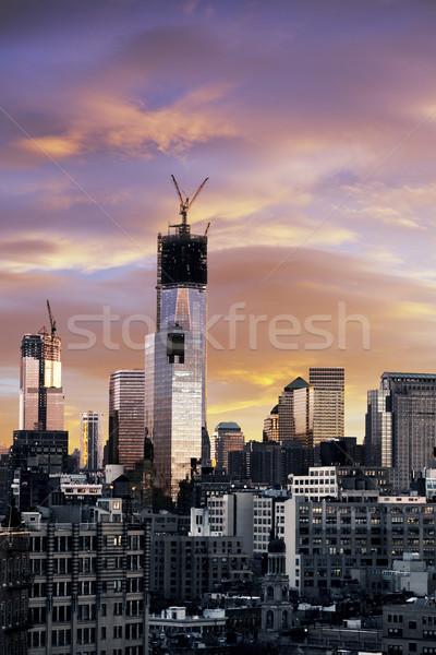 Tél naplemente Freedom Tower alsó Manhattan idő Stock fotó © eldadcarin