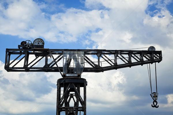 Vintage Harbour Crane Stock photo © eldadcarin