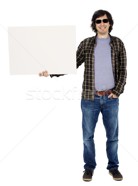 Casual 30's Guy with Sunglasses Holding Sign Stock photo © eldadcarin